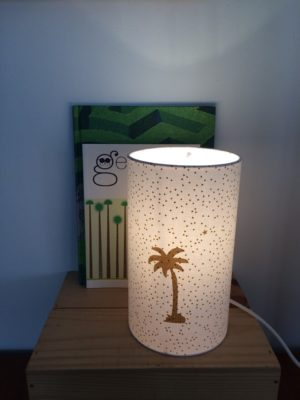 Lampe totem palmier or 2