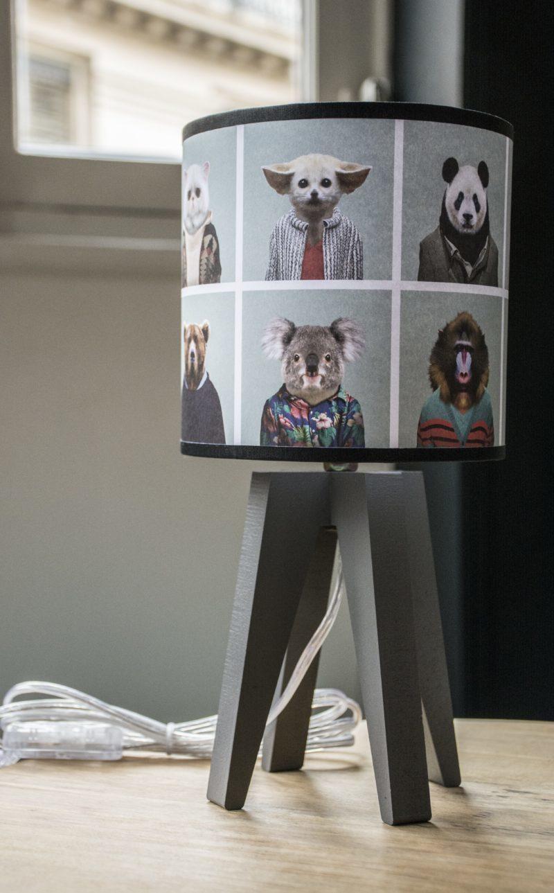 magasin luminaire lyon lampe quadripode mini trombinoscope animaux zoo chambre enfant décoration