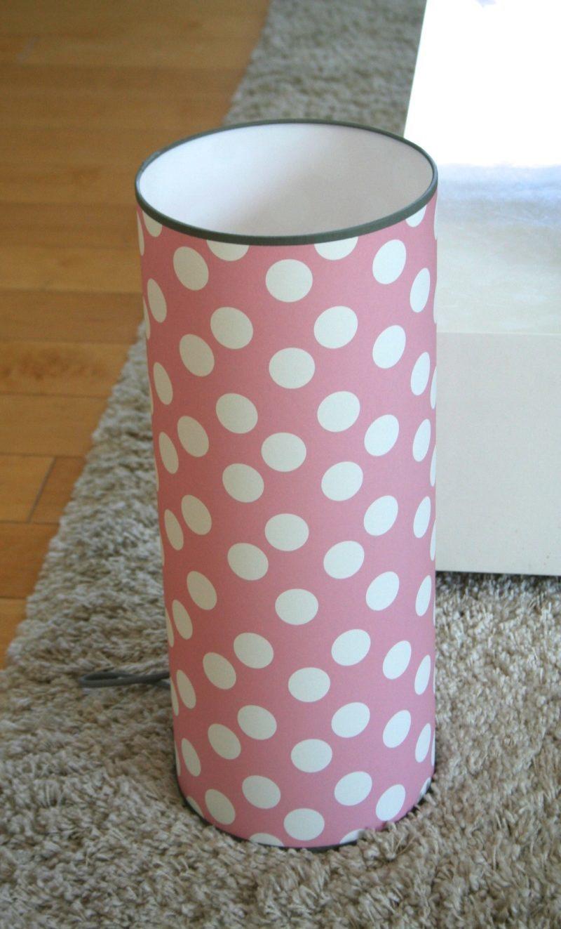 magasin luminaire lyon lampe totem grand modèle rose pois blancs