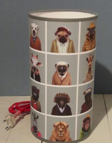 luminaire lyon lampe totem chambre enfant trombi animaux portraits décoration