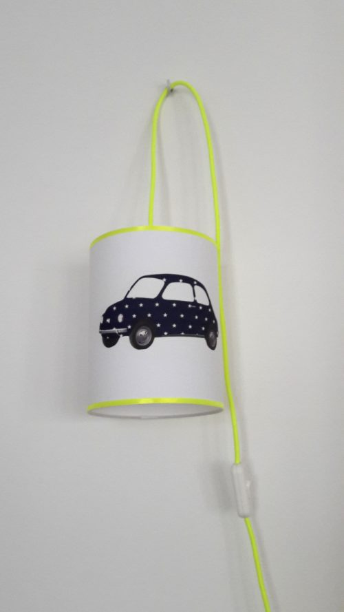 magasin luminaire lyon baladeuse chambre enfant voiture fiat 500 marine jaune fluo décoration intérieur