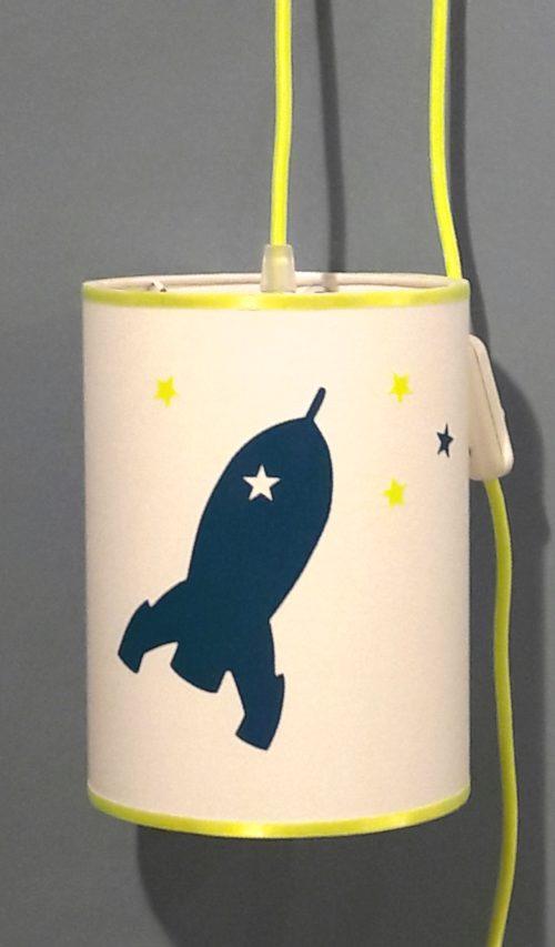 magasin luminaire lyon lampe baladeuse décoration chambre enfant fusée bleu jaune