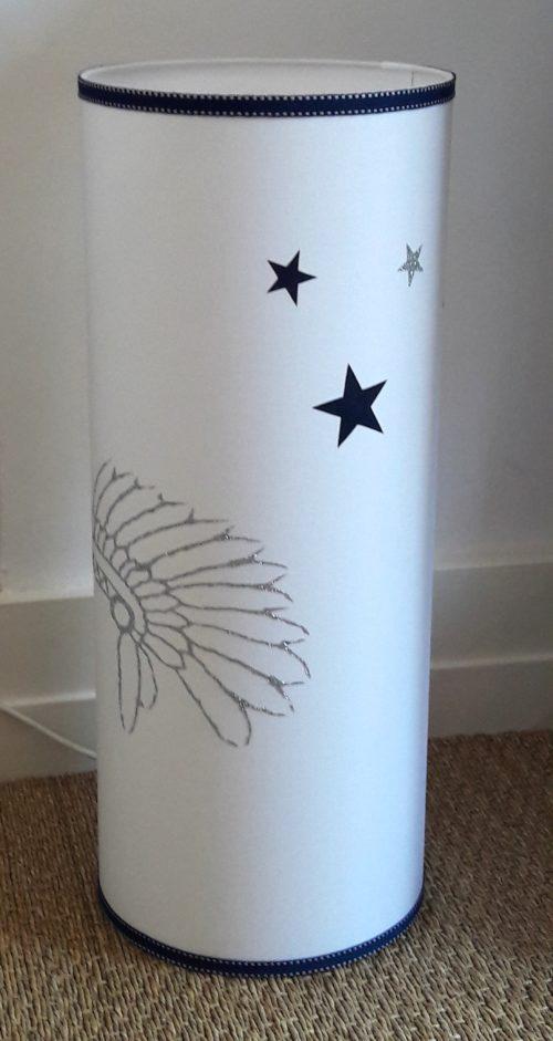 magasin luminaire lyon lampe totem coiffe indien chambre ados marine blanc petit modèle 1