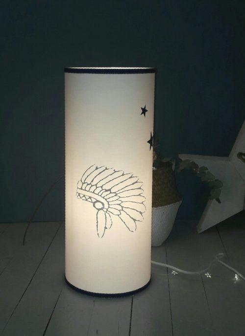 magasin luminaire lyon lampe totem coiffe indien chambre ados marine blanc petit modèle 2