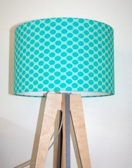 magasin luminaire lampe quadripode pois ovales turquoises