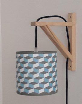 magasin luminaire lyon applique equerre cubique bleu