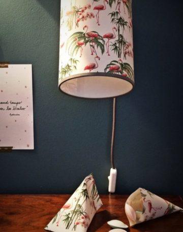 magasin luminaire lyon papier imprimé flamants roses décoration chambre