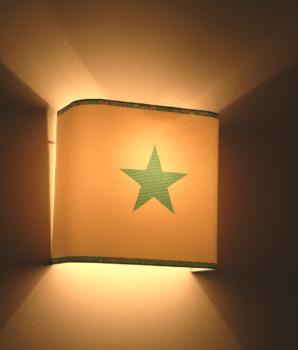 applique murale demi carré étoile bleu turquoise
