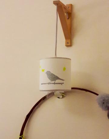 applique équerre oiseau et bordures argentés pailletés