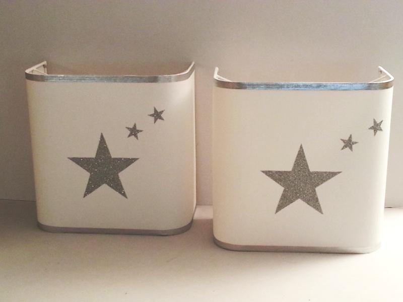 Applique murale demi carré étoiles argentées