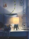 mini lampe quadripode nuage et étoiles or pailletés