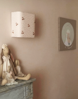 magasin luminaire lyon décoration chambre enfant pois cerises rose applique murale