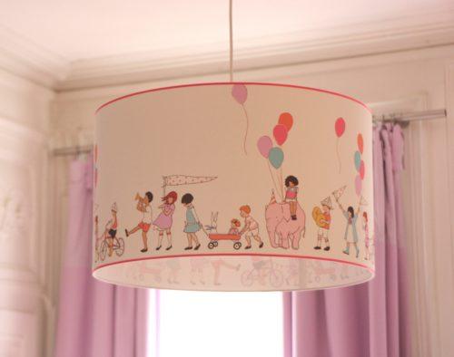 magasin luminaire lyon décoration suspension chambre enfant farandole rose