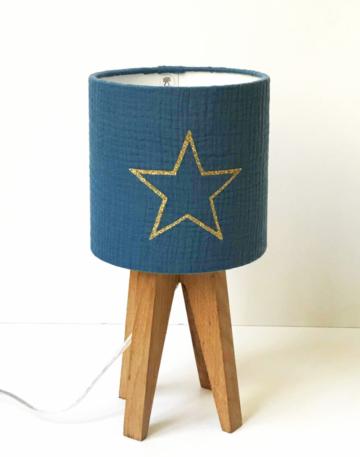 magasin luminaire lampe quadripode mini lyon gaze coton bleu