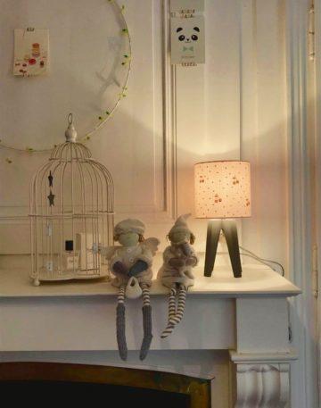 magasin luminaire lyon abat jour gaze nude cerise cuivré pailleté enfant chambre