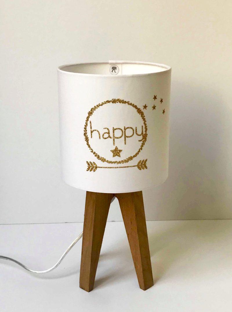 magasin luminaire lyon quadripode abat jour happy pailleté doré
