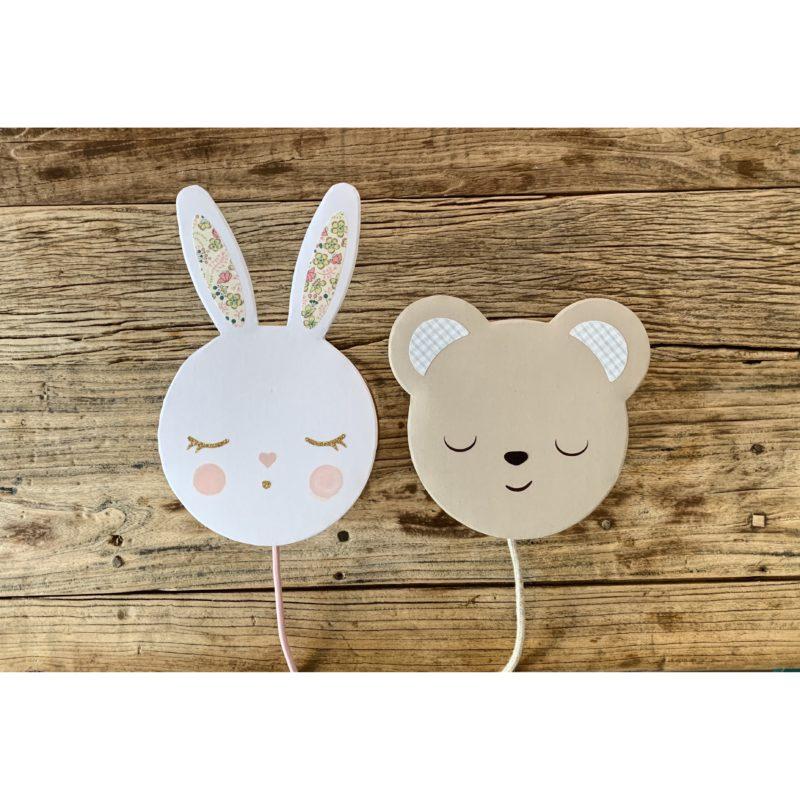 magasin luminaire lyon decoration chambre enfant lumiere poetique lapin ourson lampe applique cadeau de naissance