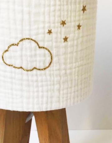 magasin luminaire lyon lampe quadripode chambre enfant gaze de coton nuage doré pailleté personnalisation