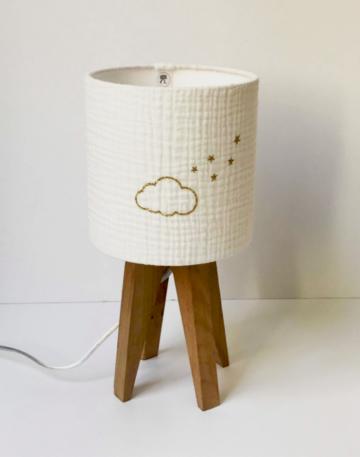 magasin luminaire lyon lampe quadripode chambre enfant gaze de coton nuage personnalisation sur mesure décoration interieur