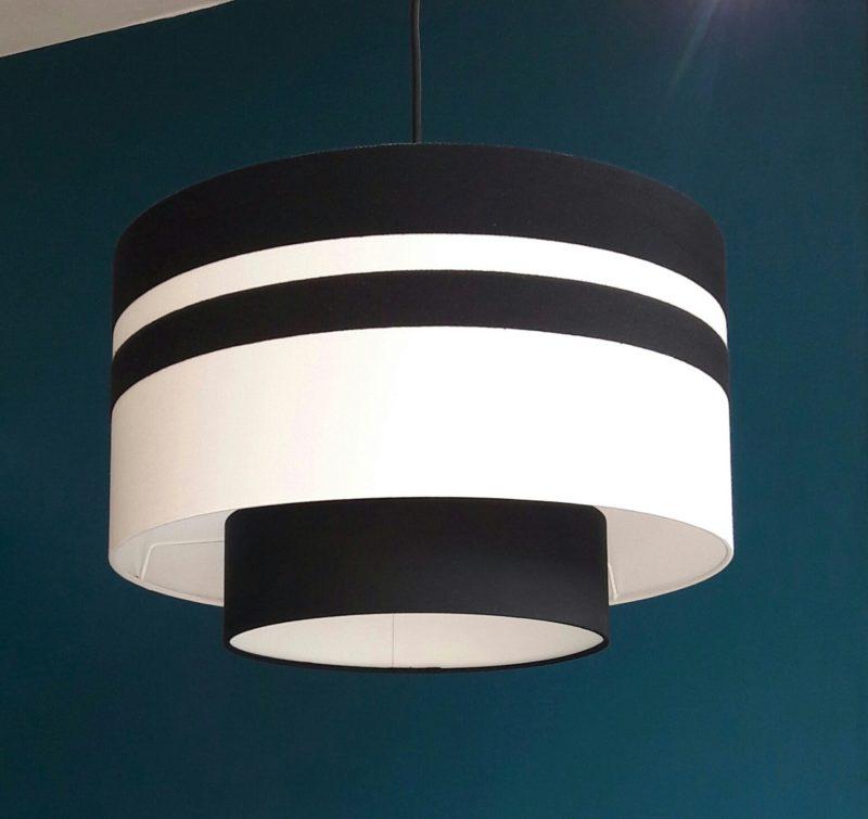 magasin luminaire lyon abat jour double suspension noir blanc decoration intérieur design