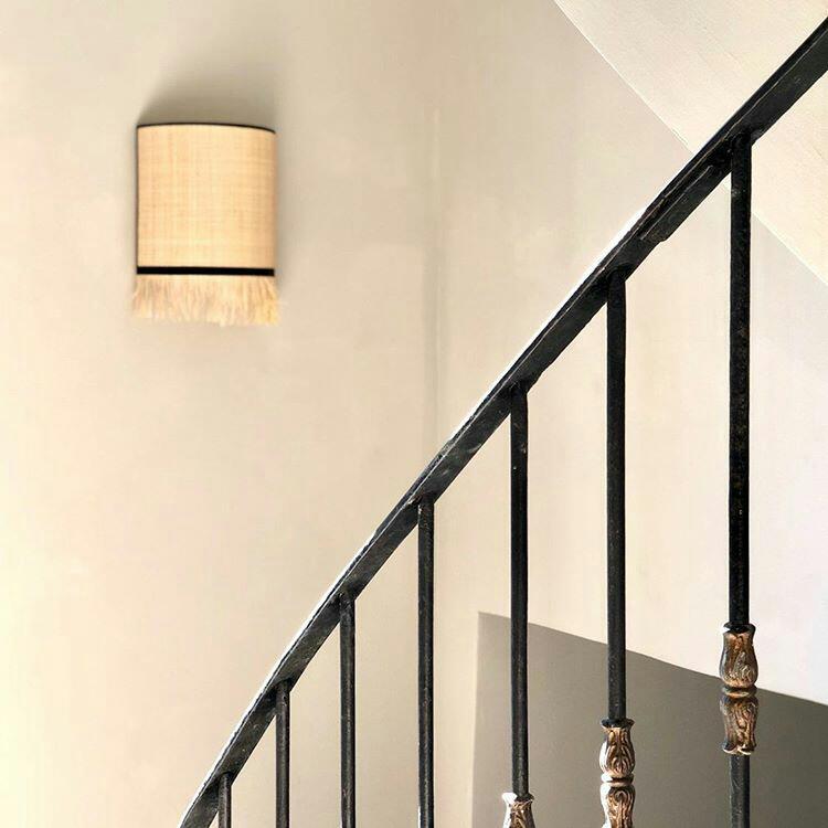 magasin luminaire lyon applique murale demi cercle rabane frange naturelle decoration interieur