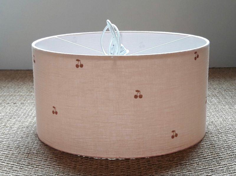 magasin luminaire lyon suspension double gaze de coton rose nude cerise pailletée chambre enfant deco interieur abat jour