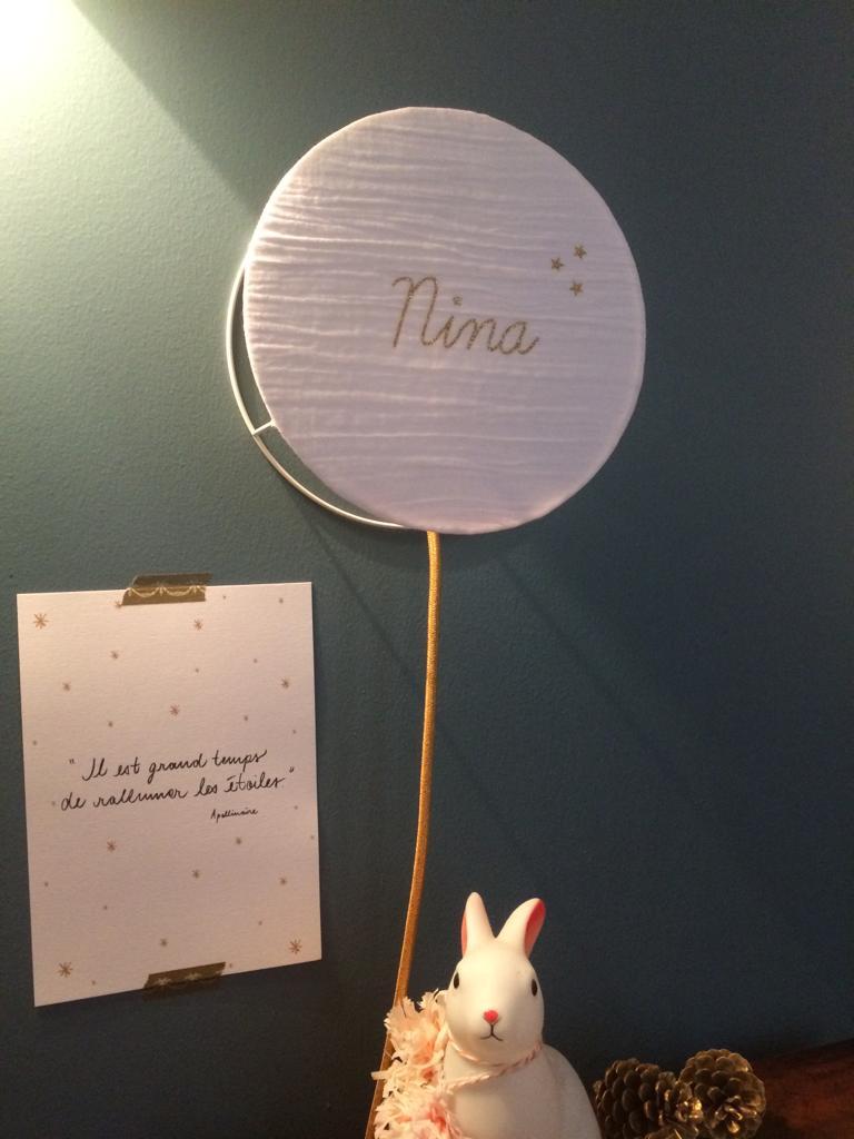magasin luminaire lyon abat jour lampe suspendu personnalise double gaze de coton blanche cadeau naissance deco chambre enfant