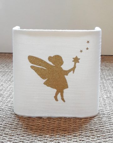 magasin luminaire lyon applique murale demi carre tissu gaze coton blanche fee pailletee doree decoration chambre enfant fille