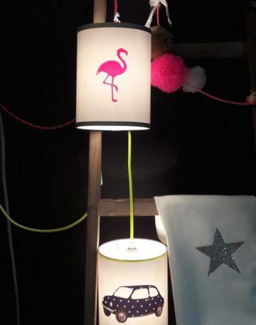 magasin luminaire lyon decoration lampe baladeuse flamant rose paillette dore fille chambre enfant abat jour sur mesure