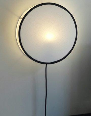 magasin luminaire lyon lampe abat jour tam tam tambourin decoration interieur chambre tissu lin bordure noire