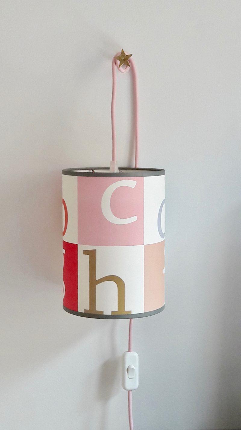 magasin luminaire lyon lampe baladeuse abat jour chevet decoration interieur chambre enfant bebe alphabet pastel