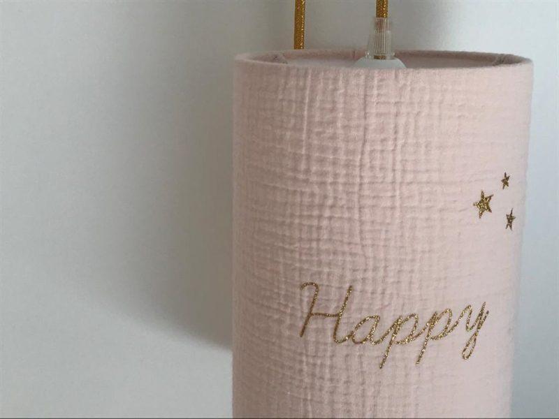 magasin luminaire lyon lampe baladeuse abat jour decoration chambre enfant double gaze rose nude happy or
