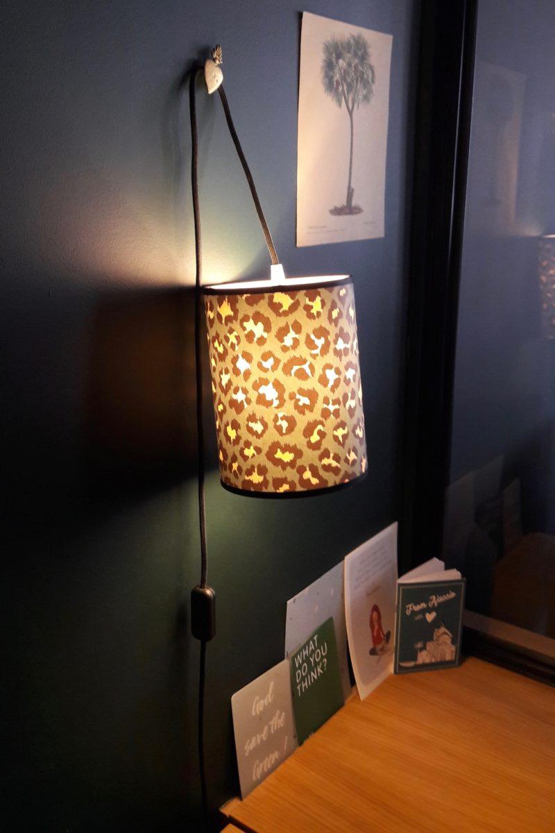 magasin luminaire lyon lampe baladeuse abat jour papier leopard vert rose decoration interieur suspendre