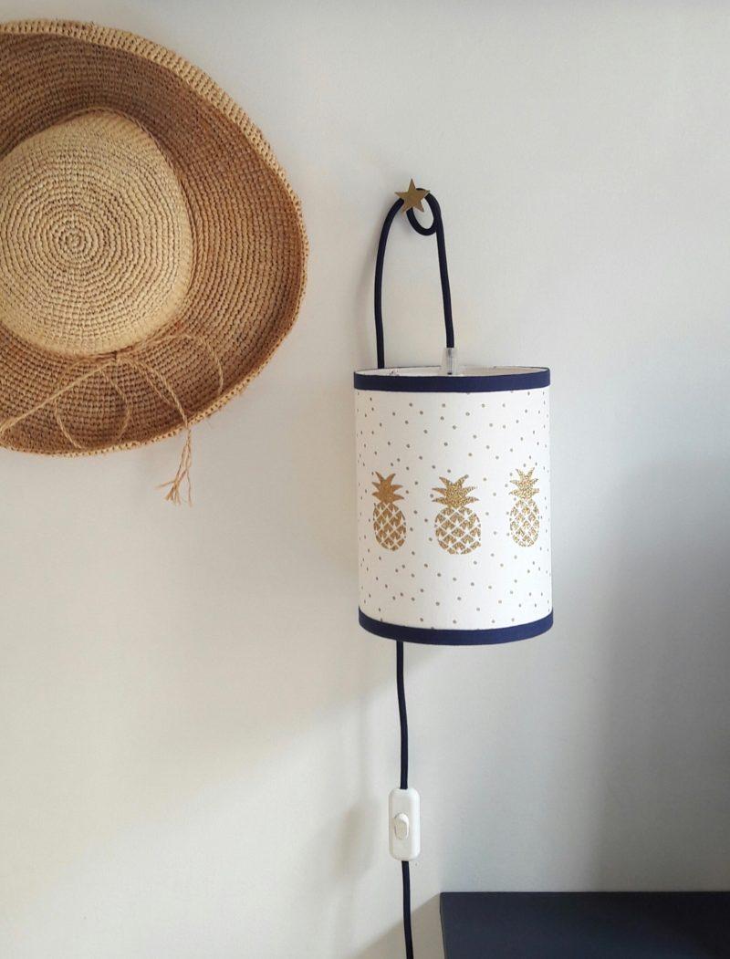 magasin luminaire lyon lampe baladeuse chambre enfant decoration interieur ananas dore tissu pois dore