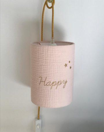 magasin luminaire lyon lampe baladeuse chevet abat jour tissu double gaze coton rose nude happy paillete or
