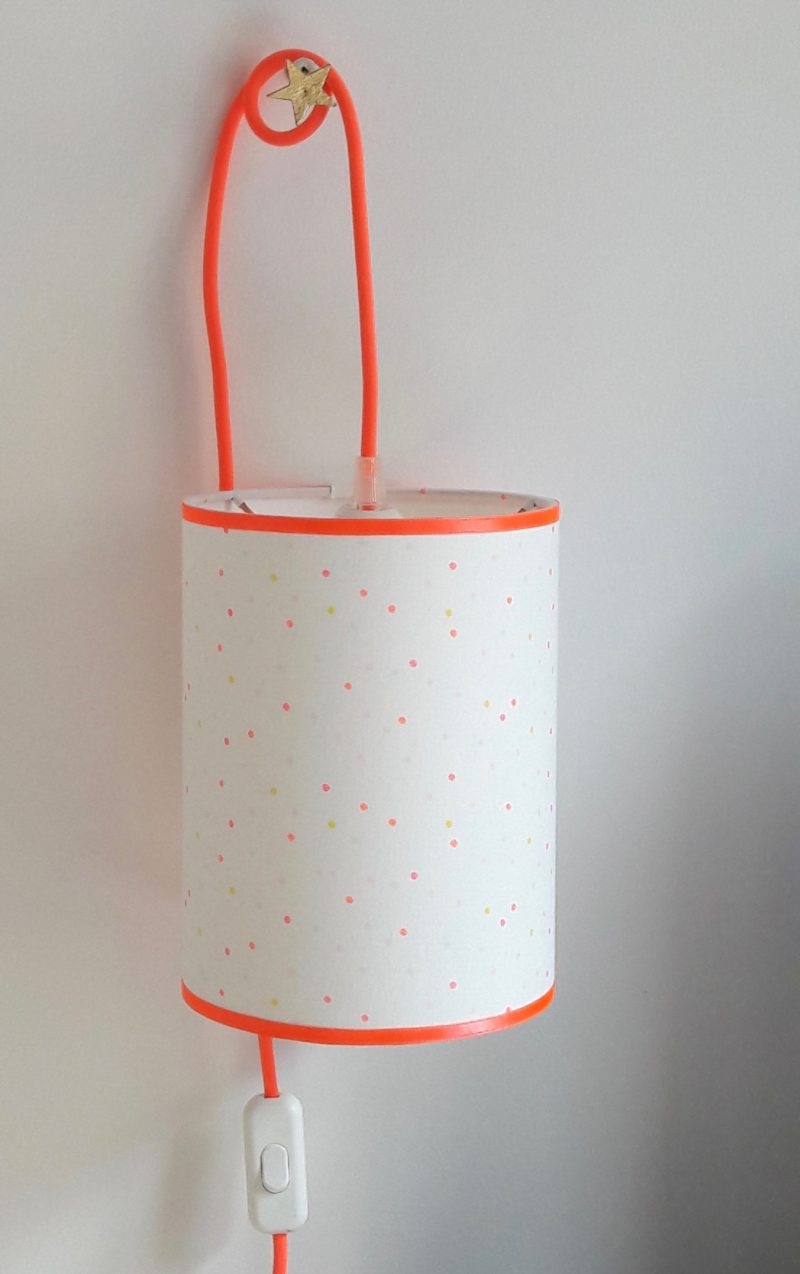 magasin luminaire lyon lampe baladeuse chevet bureau abat jour tissu pois confetti fluo