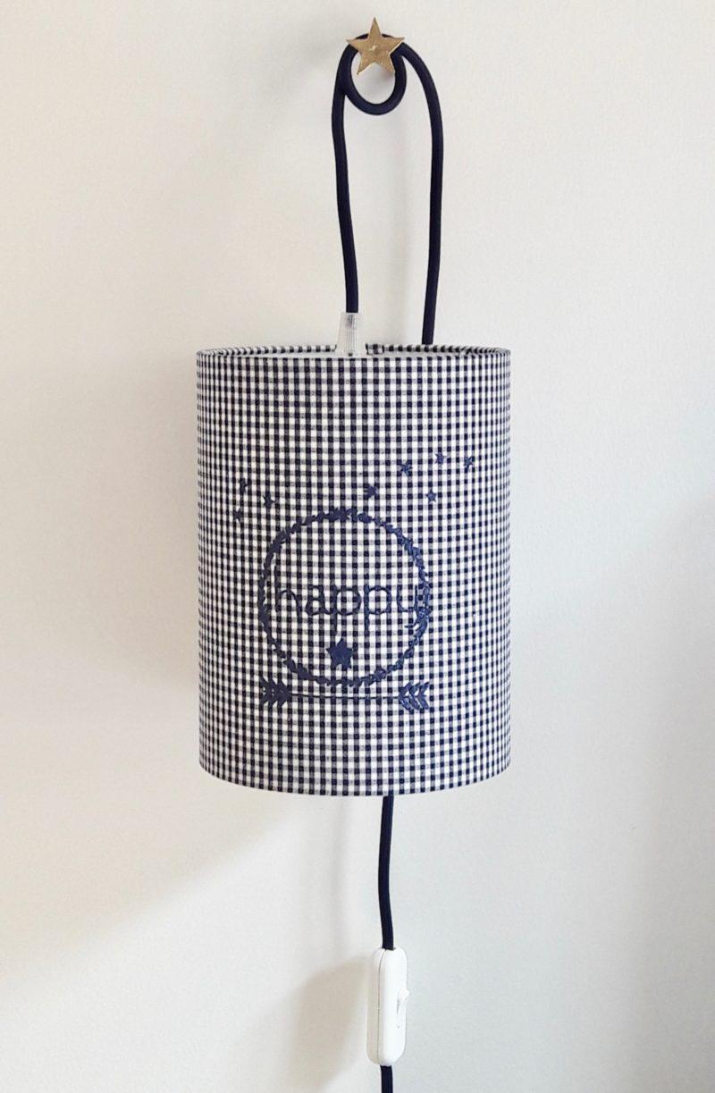 magasin luminaire lyon lampe baladeuse chevet bureau decoration chambre enfant tissu vichy couronne happy paillete marine
