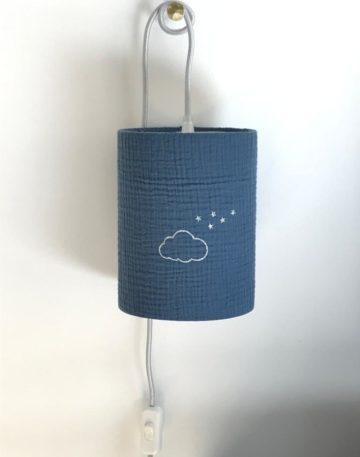 magasin luminaire lyon lampe baladeuse decoration chambre enfant chevet abat jour double gaze coton bleu jean nuage paillete argente