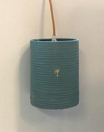 magasin luminaire lyon lampe baladeuse decoration interieur chevet double gaze coton vert eucalyptus palmier paillete dore