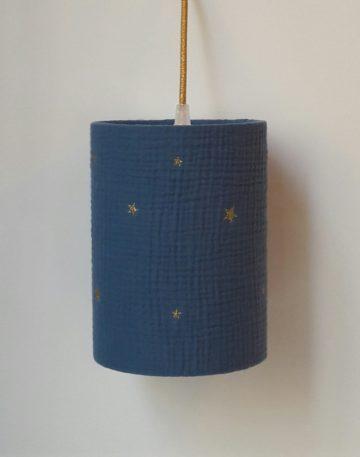 magasin luminaire lyon lampe chevet chambre enfant baladeuse tissu double gaze coton bleu marine etoile paillette dore