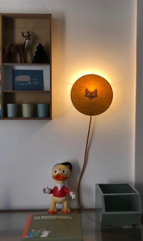 magasin luminaire lyon lampe tam tam abat jour sur mesure tissu double gaze coton moutarde chambre enfant decoration interieur jaune