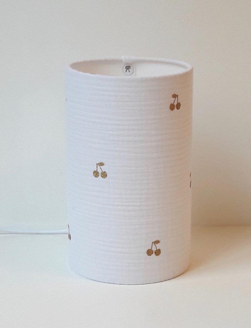 magasin luminaire lyon lampe totem chevet bureau chambre enfant bebe double gaze coton blanc cerise paillette dore