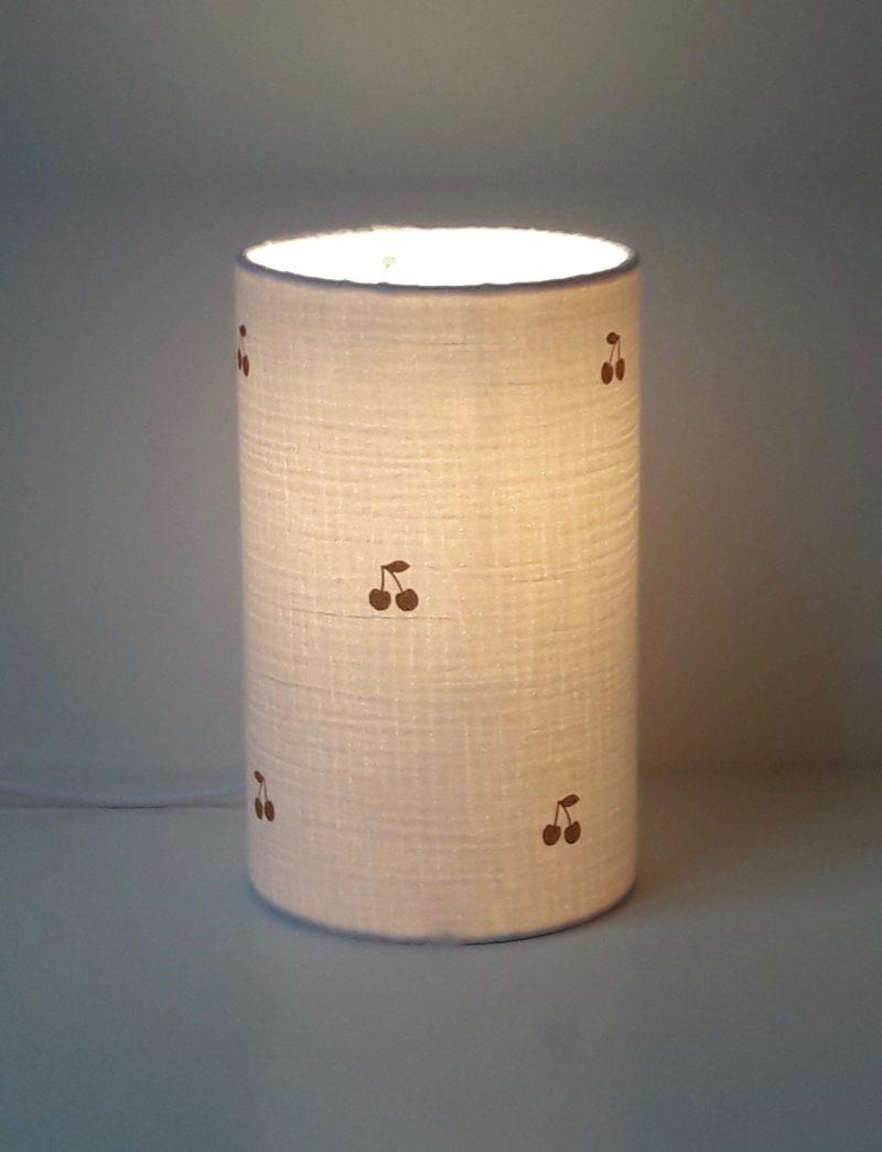 magasin luminaire lyon lampe totem chevet cadeau naissance deco chambre enfant bebe double gaze coton cerise pailletee or