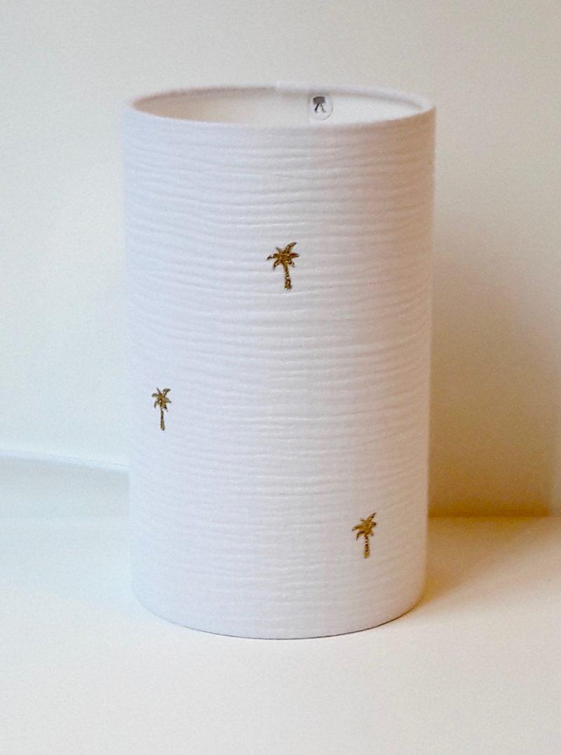 magasin luminaire lyon lampe totem chevet decoration chambre enfant double gaze coton blanc palmier paillete dore