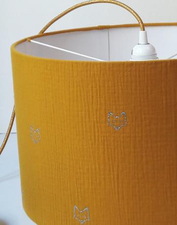 magasin luminaire lyon decoration tissu abat jour double gaze coton moutarde renard chambre enfant