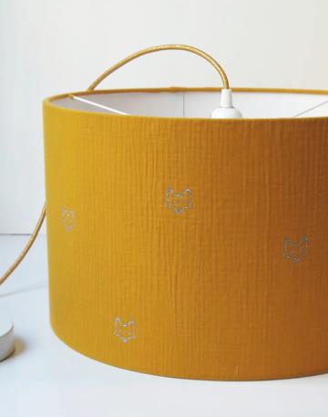 magasin luminaire lyon decoration tissu abat jour double gaze coton moutarde renard chambre enfant maison suspension