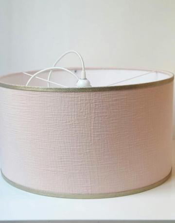 magasin luminaire lyon nude suspension abat jour double gaze coton argente decoration chambre rose bordures paillettes