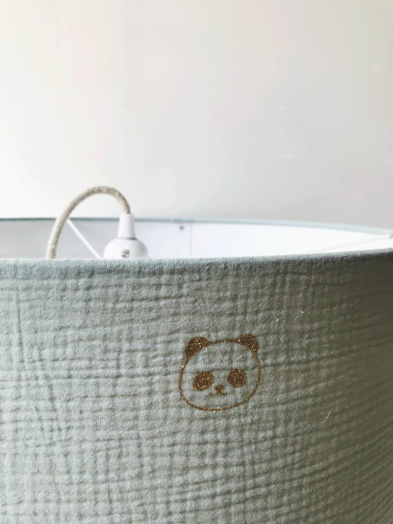 magasin luminaire lyon suspension decoration sur mesure abat jour interieur double gaze coton panda enfant bleu dore paillettes