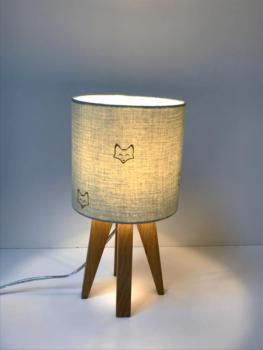 magasin luminaires lyon interieur chambre lampe a poser quadripode chevet deco double gaze de coton tete de renard paillete dore vert tilleul