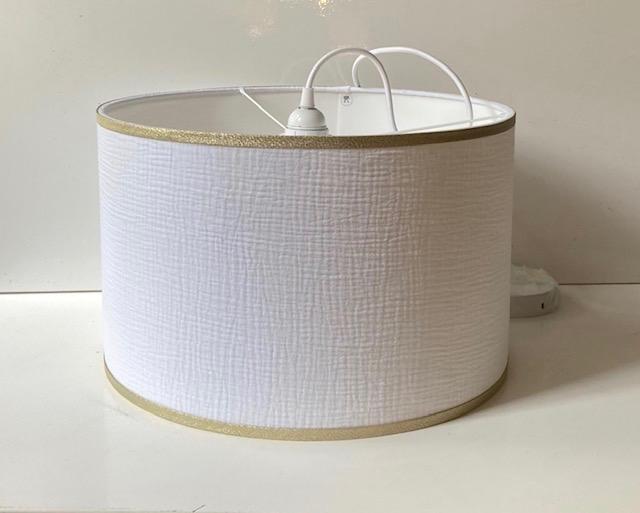 magasin luminaire lyon abat jour sur mesure tissu double gaze coton blanc dore